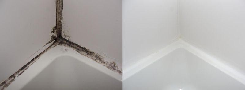 Moldy caulk before and after closeup