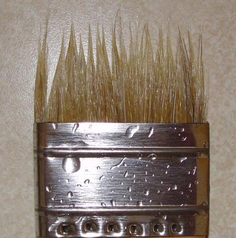 Disintegrated paint brush bristles