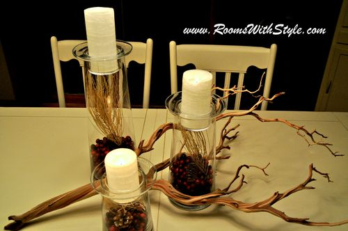 Cranberries inside Candleholders