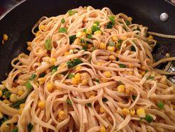 Linguine and corn